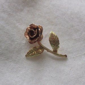 Real rose gold tiny rose pendant